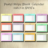 Pastel Stripe Collection Blank Calendar set- Instant  Download- Printable  JPEG