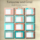 Blank Turquoise and Coral Calendar set Instant  Download- Printable JPEG