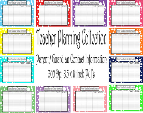 Parent/ Guardian Sign In Sheet Pack-Teacher Planning Collection-12 different Colors -Instant Download