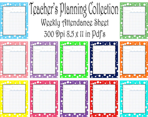 Attendance-Teacher Planning Collection-Weekly Attendance Sheet Pack-12 different Colors -Instant Download- Printable PDF**Not Editable**