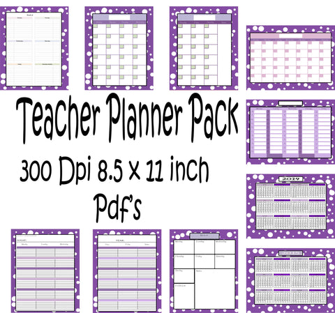 teachers planner pack 10 different one page planning calendar s
