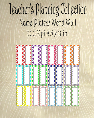 Teacher Planning Collection-Word Wall/ Name Plate Tags-12 Chevron Color Combo Pack -Instant Download