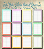 Pastel Stripe Collection Blank Perpetual Calender set- Instant  Download- Printable JPEG's