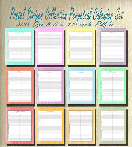 Pastel Stripe Collection Blank Perpetual Calender set- Instant  Download- Printable JPEG