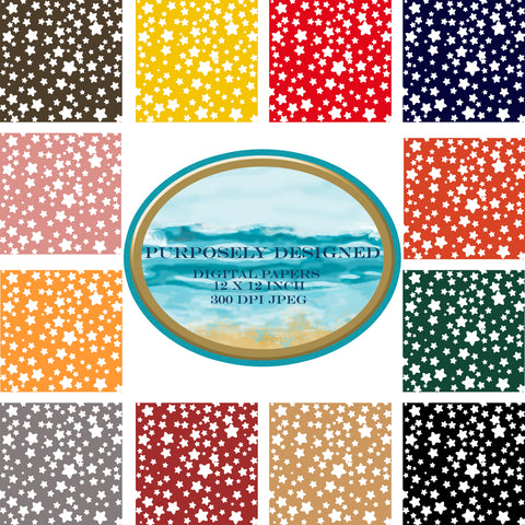 Americana Color Stars Printable Digital Paper Design Pack- Instant Download-12 x 12 inch 300 dpi JPEG files