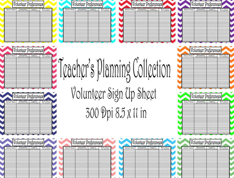 Volunteer Sign-Up Sheet Pack-Teacher Planning Collection- 12 different Colors -Instant Download