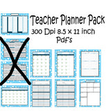 Teachers Planner Pack -8 Light Blue Dots Planning Calendar's -Instant Download- Printable PDF**Not Editable**