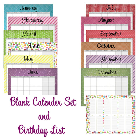 Blank Multi-Colored  Whimsical  Calendar set Instant  Download- Printable JPEG
