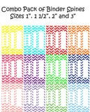 Printable Binder Spine Packs-12 different Colors in Chevron Pattern -Instant Download