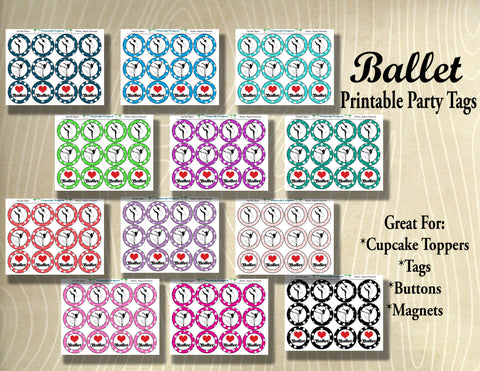 Ballet Silhouette Printable Party Tags - Cupcake Toppers - Printable Party Favors