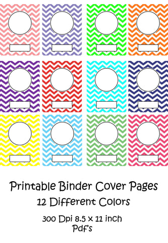 Printable Binder Cover Pack-12 different Binder Covers -Instant Download- Printable PDF**Not Editable**