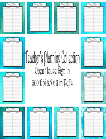 Open House Sign In Sheet Pack-Teacher Planning Collection--12 different Styles -Instant Download