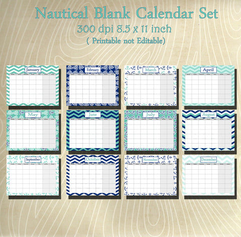 Nautical Blank Calender set- Instant  Download- Printable JPEG