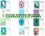 Blank Figure Skating Calendar- Instant  Download- Printable JPEG