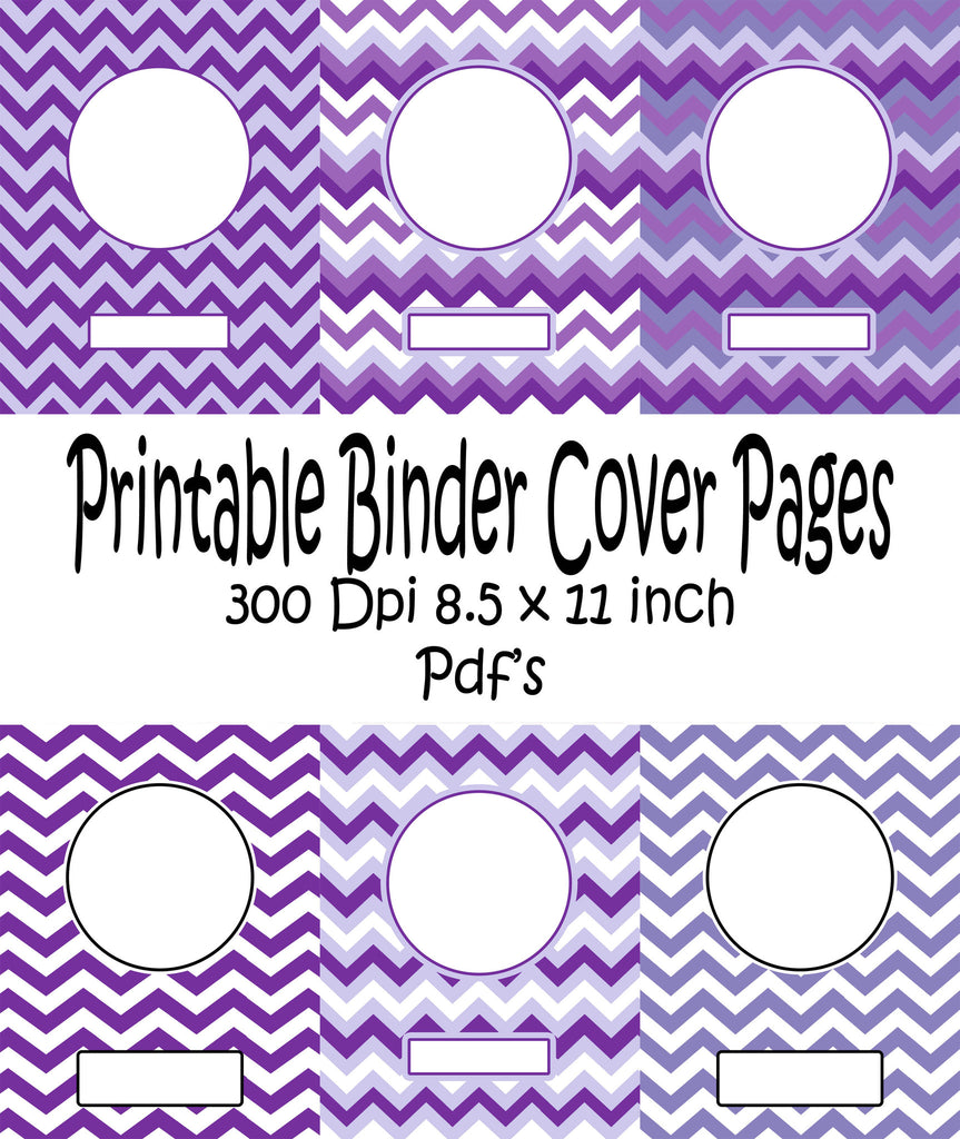 Printable Binder Cover Pack 6 Different Binder Covers