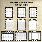 Teachers Planner Pack Black Polka Dot -8 different one age Planning Calendar's -Instant Download- Printable PDF**Not Editable**
