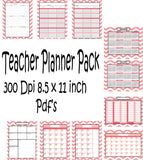 Teachers Planner Pack -8 Pink Chevron-Planning Calendar's -Instant Download- Printable PDF**Not Editable**