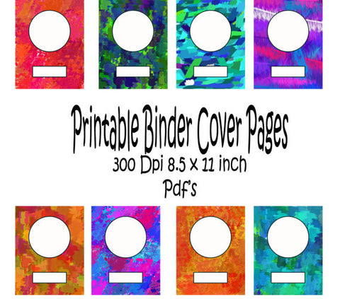 Printable Binder Cover Pack-8 different Binder Covers -Instant Download- Printable PDF**Not Editable**