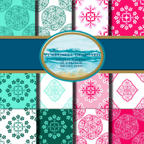 Teal and Pink  Printable Digital Paper Design Pack- Instant Download-12 x 12 inch 300 dpi JPEG files