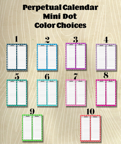 Mini Dot  Perpetual Calendar Set Instant Download- Printable PDF