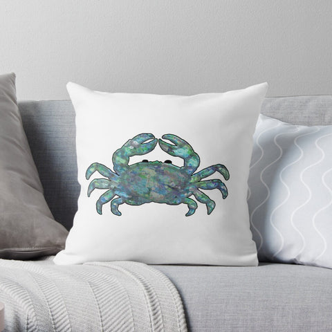 Kaleidoscope Crab in Blues - Premium Hypoallergenic Throw Pillow