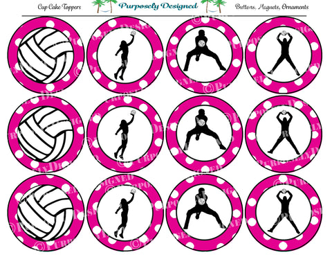 photograph relating to Volleyball Printable called Volleyball Silhouette Printable Celebration Tags - Cupcake Toppers