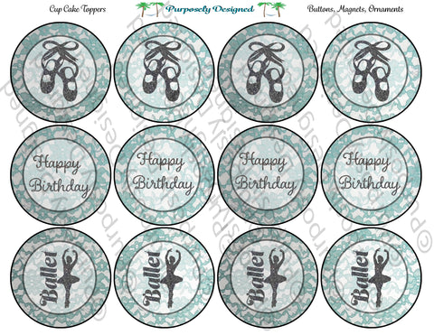 Ballet Dancer Birthday Mint Lace Design Printable Party Tags - Cupcake Toppers - Printable Party Favors
