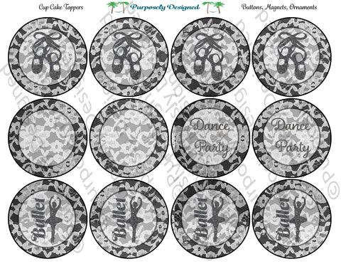Ballet Dance Party/ Blank White Lace Design Printable Party Tags - Cupcake Toppers - Printable Party Favors