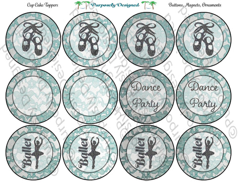 Ballet Dance Party/ Blank Mint Lace Design Printable Party Tags - Cupcake Toppers - Printable Party Favors
