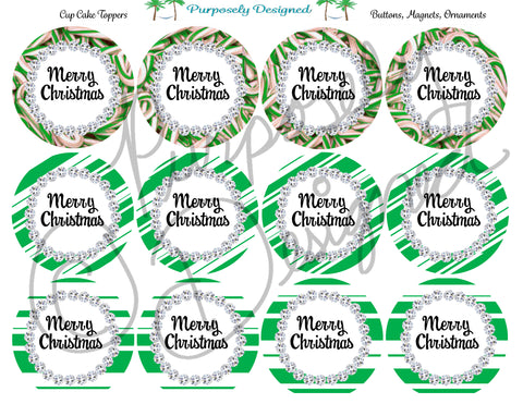 Merry Christmas with Rhinestone and Candy Cane Print Set 2- Printable  Cupcake Toppers - Printable Party Favors-Jpeg, PNG