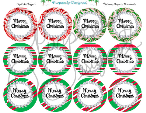 Merry Christmas with Rhinestone and Candy Cane Print Set 3- Printable  Cupcake Toppers - Printable Party Favors-Jpeg, PNG