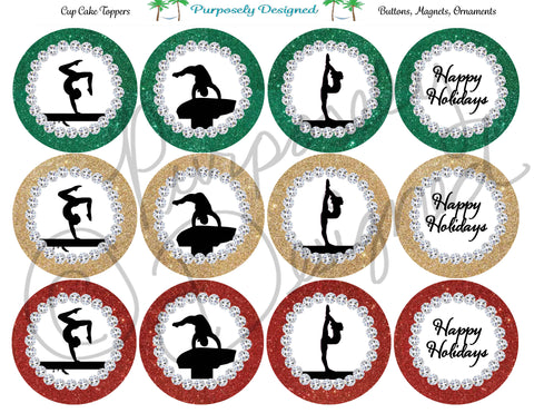 Gymnastics Happy Holidays Glitter and Rhinestone- Gold, Green, and Red-Printable  Cupcake Toppers
