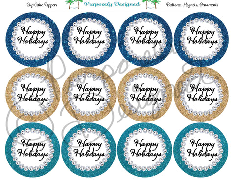 Happy Holidays Glitter and Rhinestone Color Set 3 - Printable  Cupcake Toppers - Printable Party Favors-Jpeg, PNG