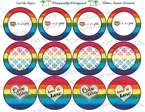 LGBTQIA Pride Cupcake Toppers/Stickers - Pride Flag, Love is Love, Love Wins  - Printable Party Favors
