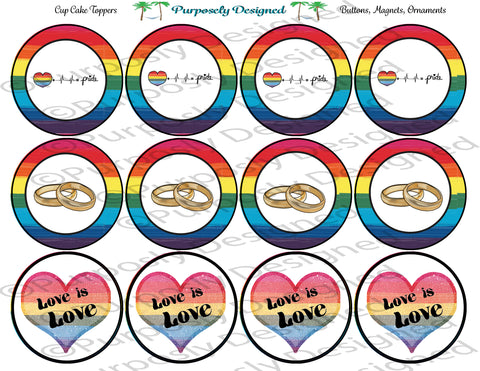 LGBTQIA PRIDE Flag Wedding Set -Cupcake Toppers/Sticker- Magnets,-Buttons-Printable Party Tags