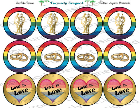 LGBTQIA PRIDE Flag Wedding Set Style 2-Cupcake Toppers/Sticker- Magnets,-Buttons-Printable Party Tags