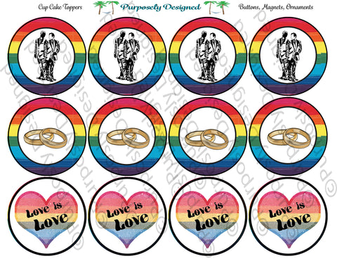 LGBTQIA PRIDE Flag Wedding Rings-Cupcake Toppers/Sticker- Magnets,-Buttons-Printable Party Tags