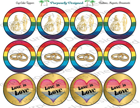 LGBTQIA PRIDE Flag Wedding Set Style 4-Cupcake Toppers/Sticker- Magnets,-Buttons-Printable Party Tags
