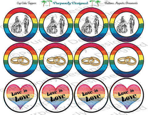LGBTQIA PRIDE Flag Wedding Set Style 3-Cupcake Toppers/Sticker- Magnets,-Buttons-Printable Party Tags