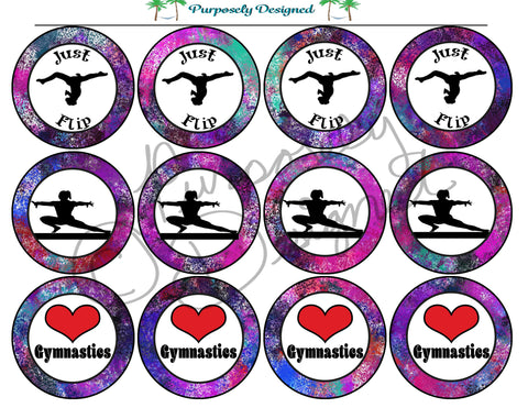 Gymnastics Galaxy Silhouette Printable Party Tags - Cupcake Toppers - Printable Party Favors