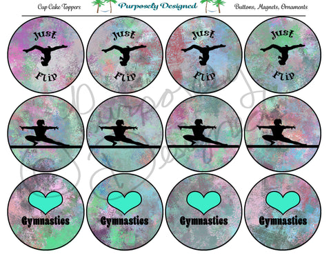 Gymnastics Pastel Chalk 2  Silhouette Printable Party Tags - Cupcake Toppers - Printable Party Favors