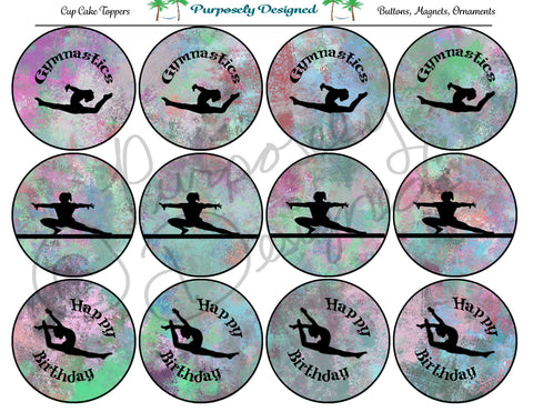 Gymnastics Pastel Chalk 3  Silhouette Printable Party Tags - Cupcake Toppers - Printable Party Favors