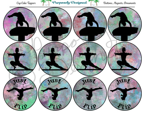 Gymnastics Pastel Chalk 4  Silhouette Printable Party Tags - Cupcake Toppers - Printable Party Favors