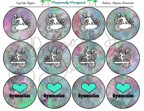Gymnastics Pastel Chalk  Silhouette Printable Party Tags - Cupcake Toppers - Printable Party Favors