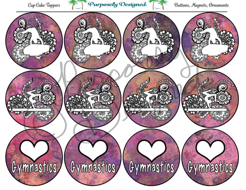 Gymnastics Pastel Chalk 6  Silhouette Printable Party Tags - Cupcake Toppers - Printable Party Favors