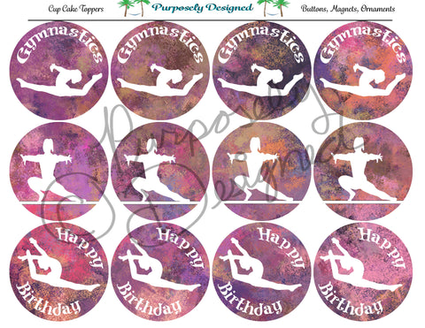 Gymnastics Pastel Chalk 9  Silhouette Printable Party Tags - Cupcake Toppers - Printable Party Favors