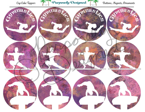 Gymnastics Pastel Chalk 10  Silhouette Printable Party Tags - Cupcake Toppers - Printable Party Favors