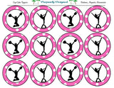 Cheer Silhouette Printable Party Tags - Cupcake Toppers - Printable Party Favors