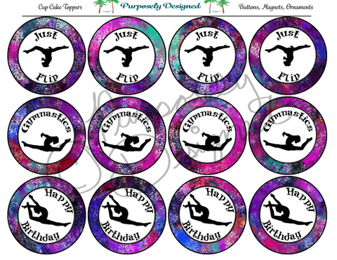 Gymnastics Galaxy 6 Print Silhouette Printable Party Tags - Cupcake Toppers - Printable Party Favors