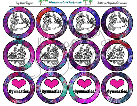 Gymnastics Galaxy 7 Print Silhouette Printable Party Tags - Cupcake Toppers - Printable Party Favors